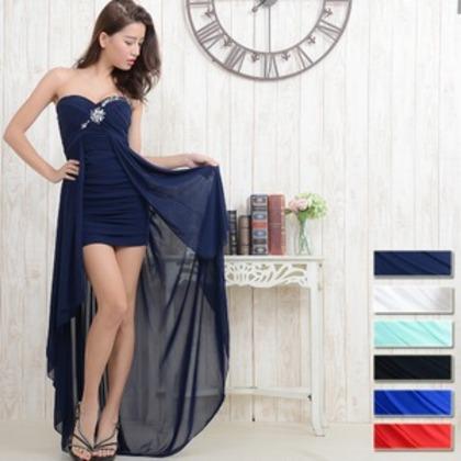 0550ロイヤルブルー/胸元ビジューギャザーテールカットロングドレス/パーティードレス/ロングドレス