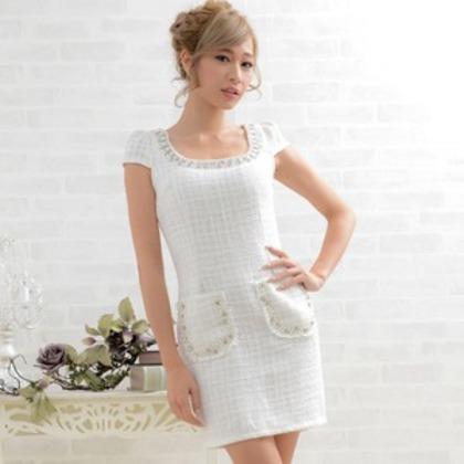 9027ホワイト/胸元パールビジューポケット付きツイードミニドレス/ドレス/パーティードレス/フォー